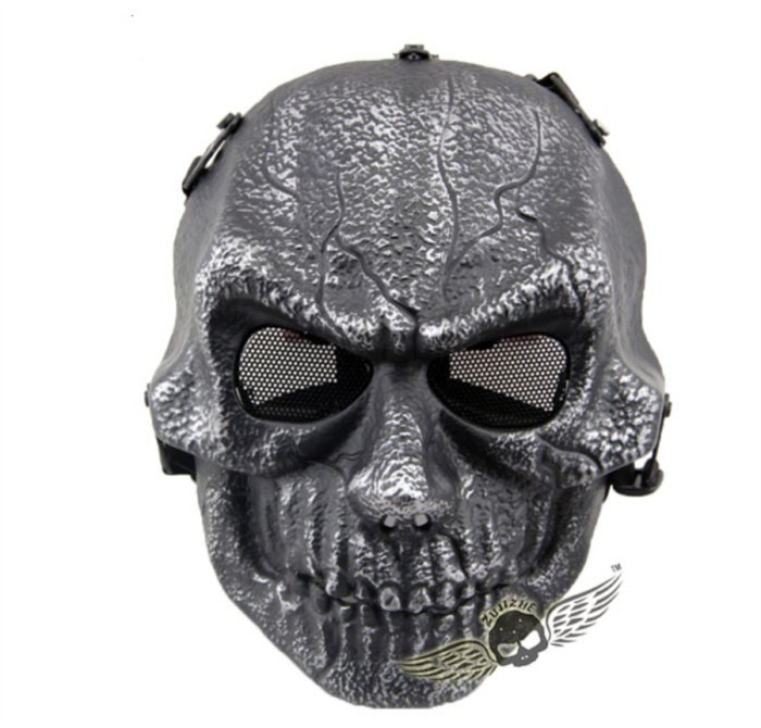 Army Paintball Skull Full Hunting Tactical Military Mask Sliver