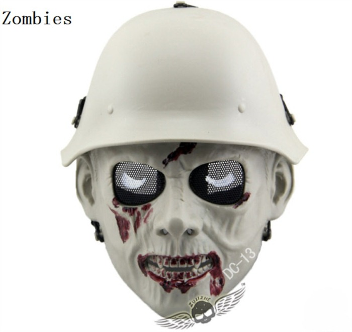 Skull Tactical Military Paintball Airsoft Full Face Masks zombies