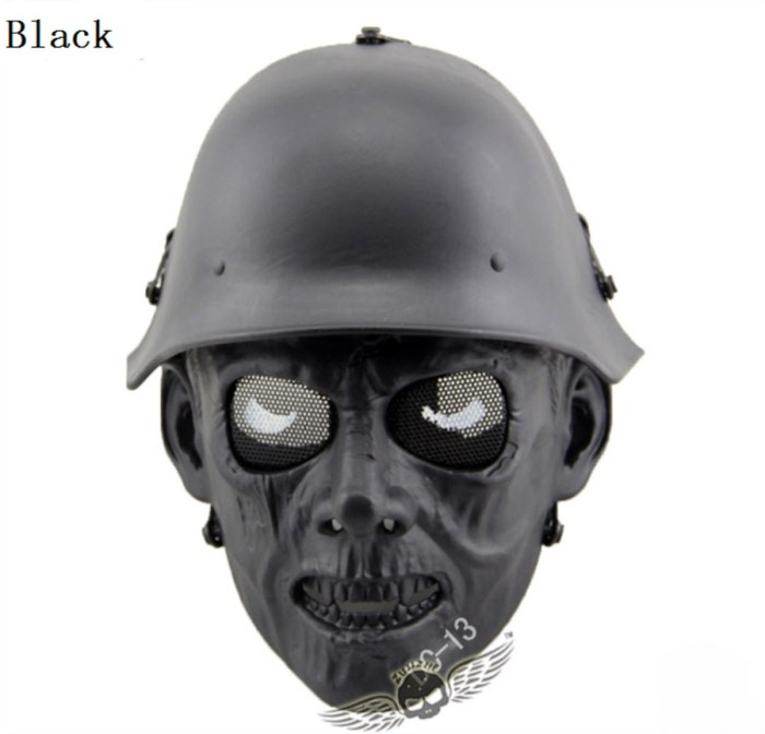 Skull Tactical Military Paintball Airsoft Full Face Masks Black
