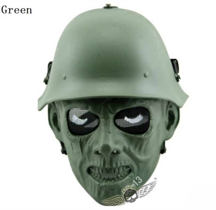 Skull Tactical Military Paintball Airsoft Full Face Masks Green