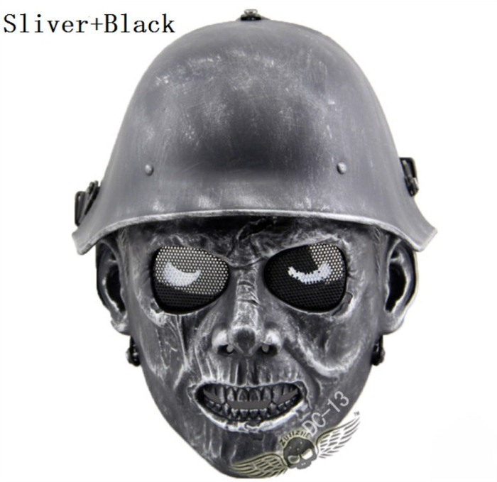 Skull Tactical Military Paintball Airsoft Full Face Masks Sliver