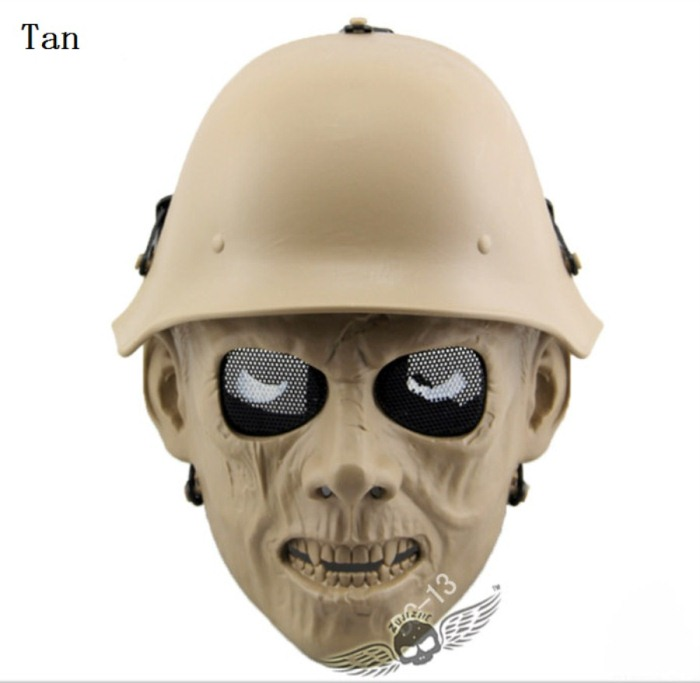Skull Tactical Military Paintball Airsoft Full Face Masks Tan