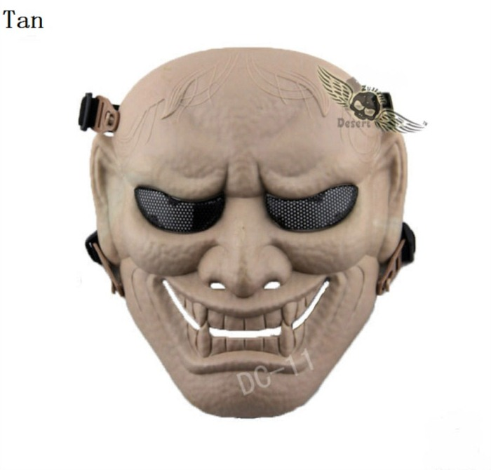 Military Paintball Tactical Skull Airsoft Full Face Masks Tan