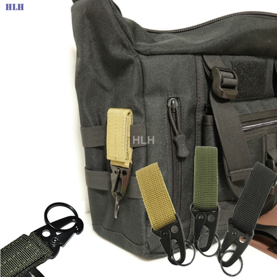 Outdoor Military Hiking Belt Tactical Molle Key Chain Tan
