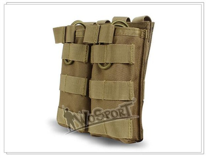 Tactical MOLLE Double Open Top Mag Pouch M4/M16 Magazine Pouch DE