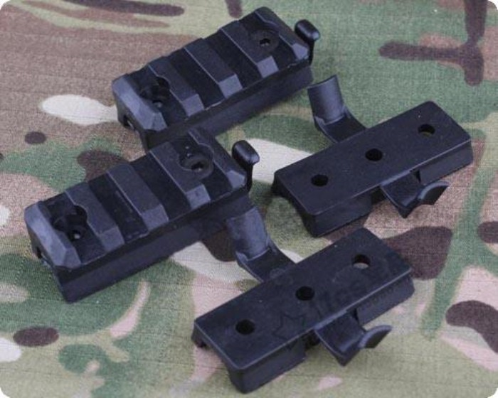 Good Quality Plastic Mount Set For OPS Helmet Rail Black