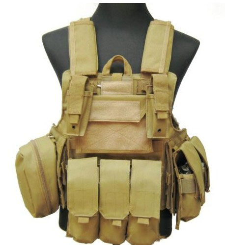 1000D Large Tactical MOLLE Vest Tan Perfect for Airsoft