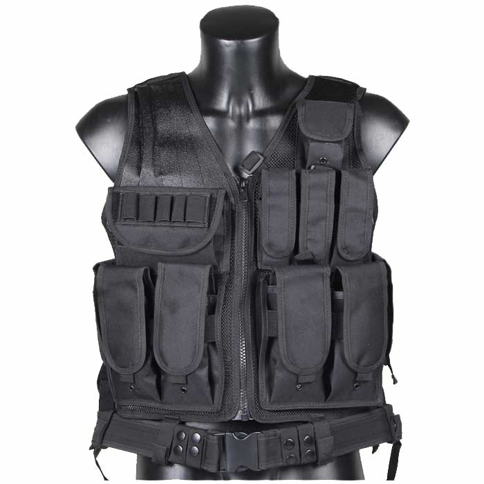 Mesh Tactical Vest Military Equipment USMC Molle Vest w Holster BK