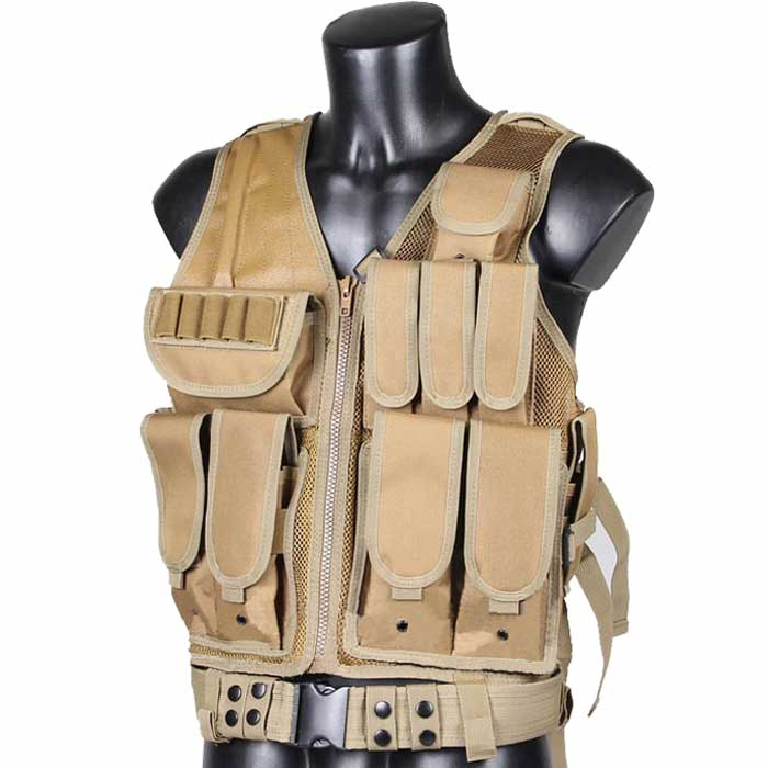 Mesh Tactical RRV Vest Military Gear Assault Molle Vest w Holster DE