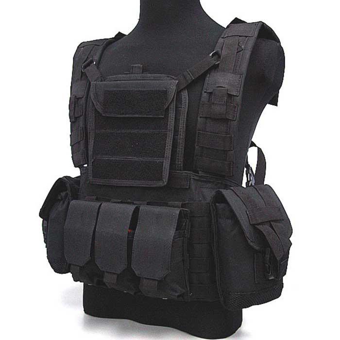 Military Tactical Molle Vest with Hydration Water Reservoir Black