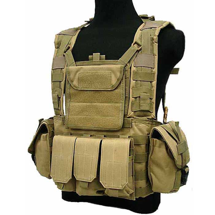 Military Tactical Molle Vest Airsoft Combat Vest RRV Water Bag TAN