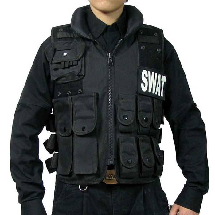 SWAT Velcro Tactical Vest ASSAULT Military Police Hunting Vest Black