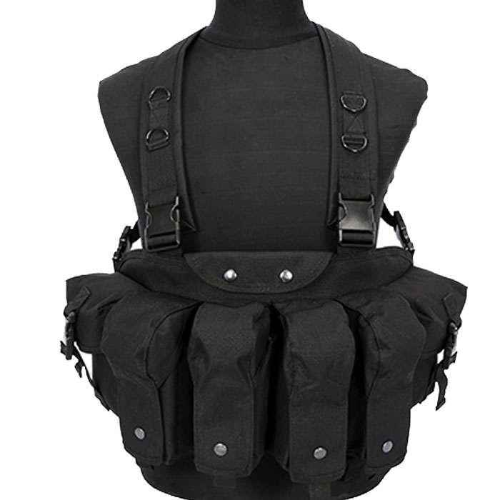 Tactical Chest Rig Vest Double AK Mag Pouches Assault Combat Vest BK