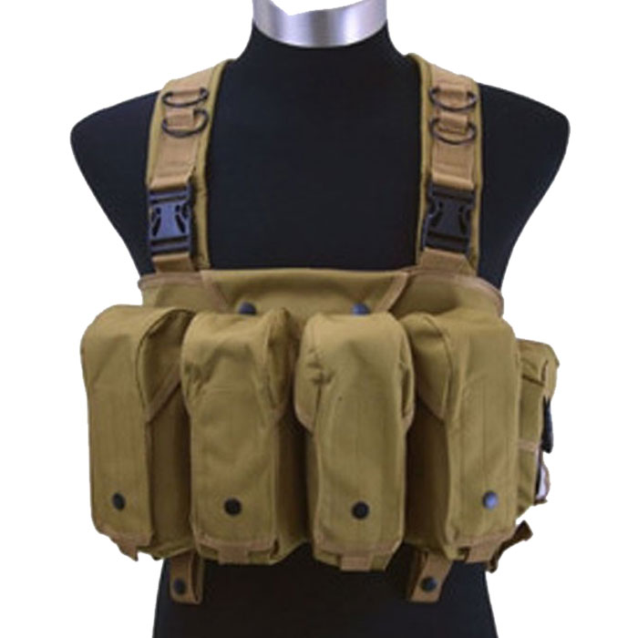 Tactical Chest Rig Vest Double AK Mag Pouches Assault Combat Vest DE