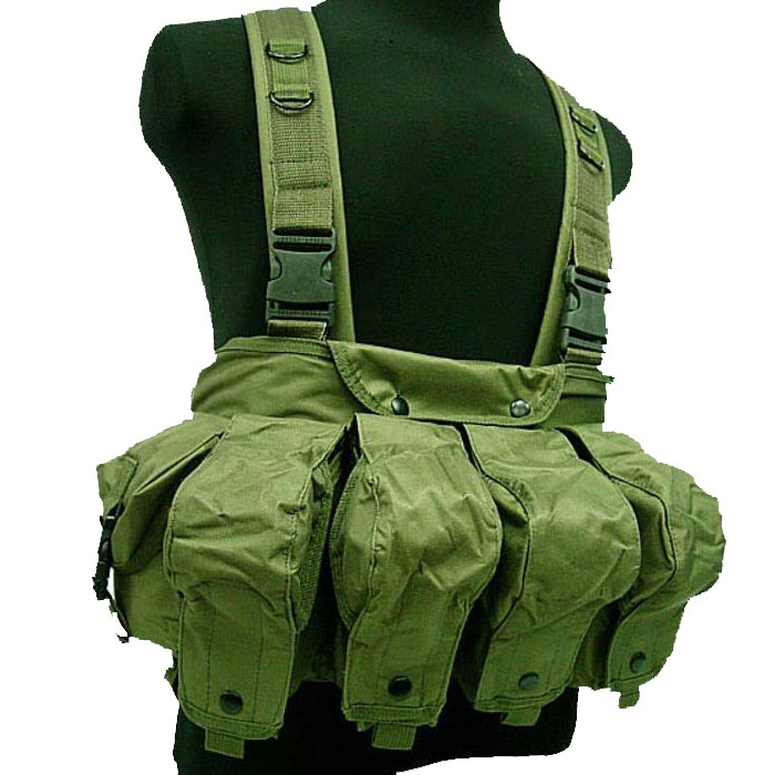 Tactical Chest Rig Vest Double AK Mag Pouches Assault Combat Vest OD