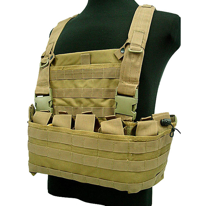 Tactical Module Vest w Water Bag Pouch Military Combat Molle Vest DE