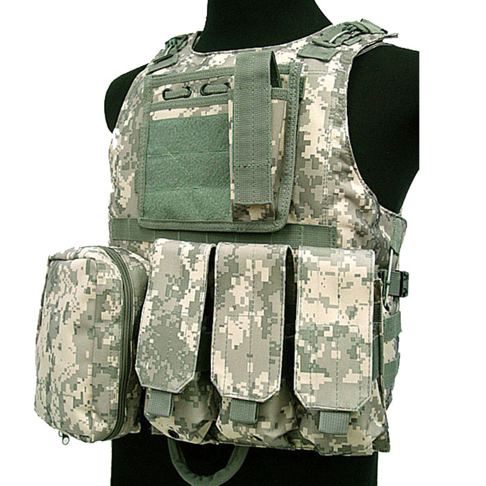 Military Vest Tactical Assault Vest Molle Combat Amphibious w Mag AC