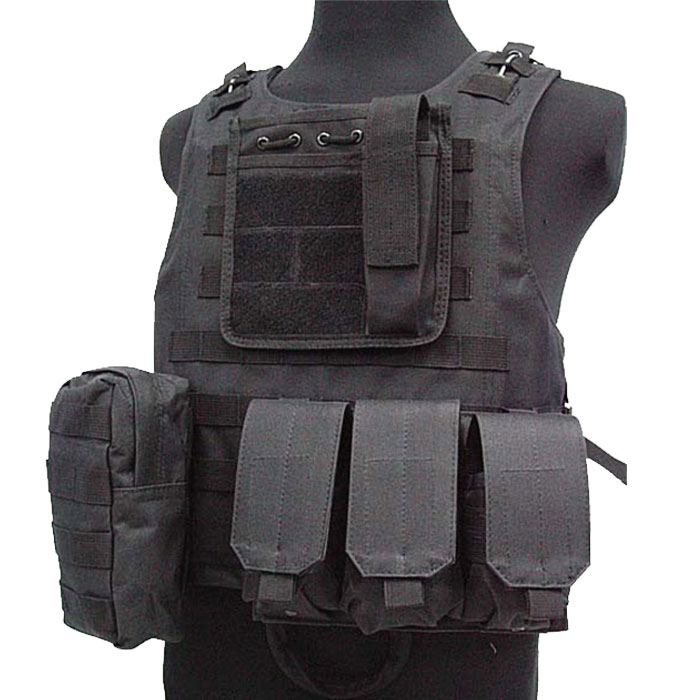 Military Vest Molle Combat Amphibious Tactical Assault Vest w Mag BK