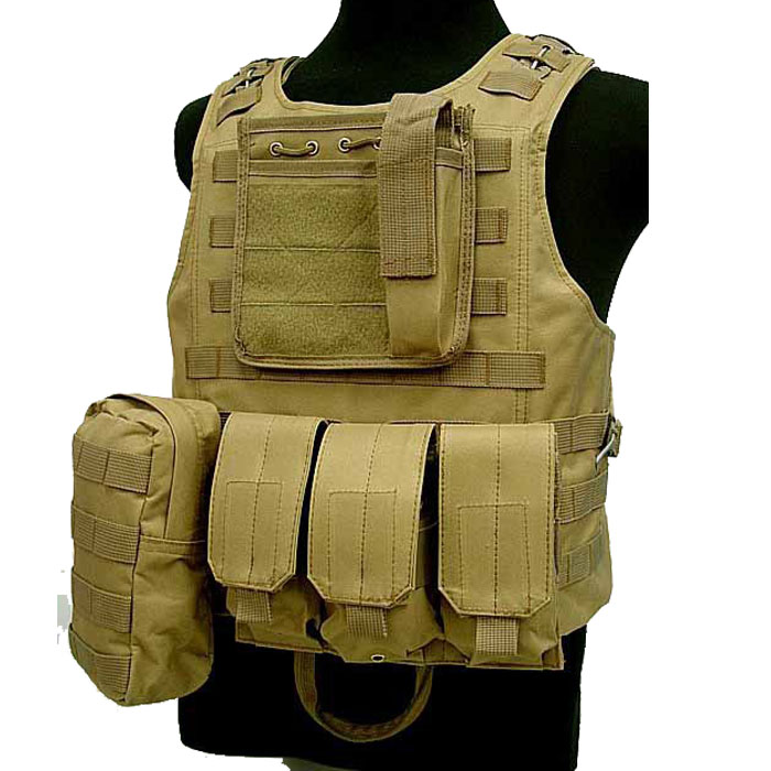 Military Vest Molle Combat Amphibious Tactical Assault Vest w Mag DE