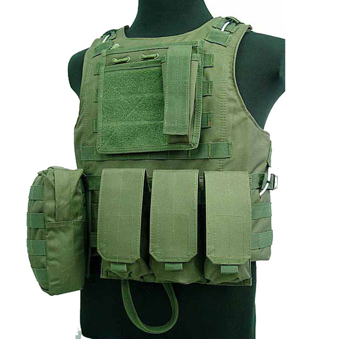 Military Vest Tactical Assault Vest Molle Combat Amphibious w Mag OD